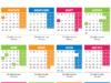 Календар за 2018 с работните, почивните и празничните дни